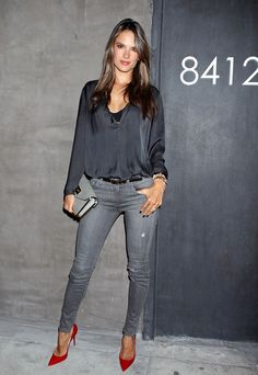Love the simple grey, fired up with the red pumps! Alessandra Ambrosia