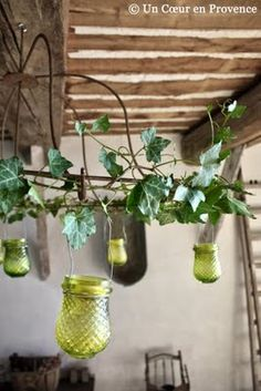 idea for outdoor chandelier, reuse old lampshade frames & mason jars