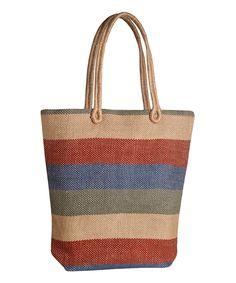 Jute Nomad Tote Multi Stripe Zink Everyday Burberry Handbags Leather