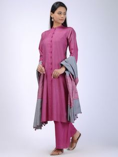 Pink Button-Down Tussar Silk Kurta