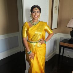 Beautiful South Indian Wedding Wear Idea :- AwesomeLifestyleFashion Different Culture have their own look and style and Kanjivaram and. Indian Wedding Wear, Indian Wedding Ceremony, Wedding Pics, Wedding Bells, South Indian Bridal Jewellery, South Indian Weddings, Saree Blouse, Sari, Bridal Portrait Poses
