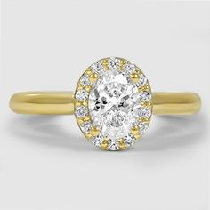 18K Yellow Gold Fancy Halo Diamond Ring // Set with a 0.72 Carat, Oval, Very Good Cut, F Color, VVS2 Clarity Diamond #BrilliantEarth