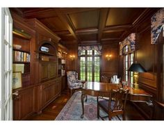 Custom Wood Paneled Office In A English Country Style Home In Wellesley