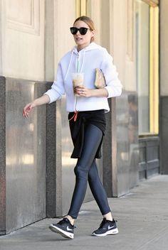 Olivia Palermo wearing Le Specs Halfmoon Magic Sunglasses and Nike Air Max Thea Sneakers