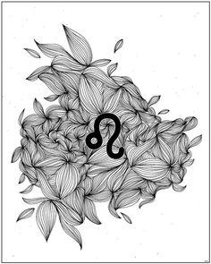LEO ZODIAC SIGN Printable art Astrology Print by shooshles #leo #zodiacsign #art #printableart #8x10 #astrology #lion #horoscope #abstract #abstrait #gift #zodiac #ink #black #etsy #shooshles