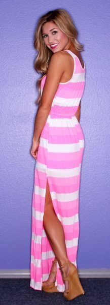 pink stripped dress