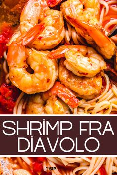 Shrimp Fra Diavolo with linguine is a spicy flavorful shrimp recipe that comes together in only about 30 minutes. This Italian-American classic seafood recipe is sure to become a family favorite seafood recipe! #dinner #seafooddinner #shrimprecipes #spicyshrimp #italianfood Vegetarian Pasta Recipes, Chicken Pasta Recipes, Healthy Pasta Recipes, Spaghetti Recipes, Delicious Dinner Recipes, Seafood Recipes, Seafood Appetizers, Noodle Recipes, Simple Recipes