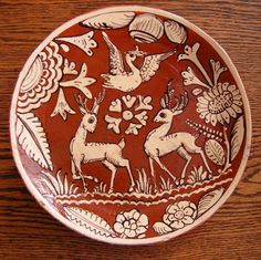 Vintage Mexican Clay Fantasia Plate with Bird by IsabellaDeMayo, $65.00