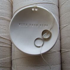 Wedding Ring Pillow alternative WITH THIS RING  Ring Bearer Bowl with tiny text - commitment ceremony dish - ring plate by Paloma's Nest. $48.00, via Etsy.