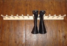 Handmade wooden hanging rack, for welly boots, riding boots or even to hang bags and tools. All items are shed made to order and come unfinished, ready for you to add a stain or wax or paint, whatever you want. Wellies Boots, Shoe Boots, Boot Storage, Diy Storage, Tool Stand, Hanging Racks, Tool Sheds, Handmade Wooden