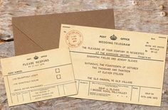 10 x PERSONALISED VINTAGE TELEGRAM WEDDING INVITATIONS WITH RSVP 10, 50 OR 100