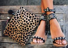 Leopard Clutch by Clare Vivier & studded sandals