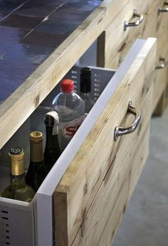DIY solid wood drawer fronts for standard Ikea carcass. Also tiles for worktop with simple edging, matching drawers
