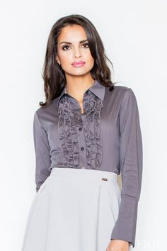 Elegant gray shirt with decorative frills in the middle