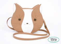 white and light brown Mr cat bag by TitinaStore on Etsy, $52.00