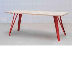 Table bois pieds acier peinture rouge