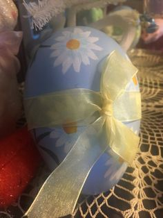 Vintage Hand Painted Easter Egg Candy Container Blue by MOJEART