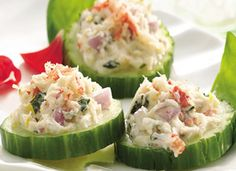 Basil- and Crabmeat-Topped Cucumbers Recipe - Tablespoon