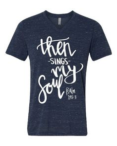 """Great is the Lord and most worthy of praise; his greatness no one can fathom."" Psalm 145 Every time I hear ""How Great Thou Art"" it just does something to me! Our navy marble v-neck is a MUST-HAVE. Wi"