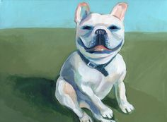 https://flic.kr/p/oGH6T1 | frenchie | I'm working on a new series of general, purebred dog portraits. Most of the dogs from the series are painted from random photos I've taken on the street, or library books or internet images. They're not dogs I know in real life. In fact, while Googling French Bulldog images to work from, I liked the Frenchie on actor Jason Bateman's Twitter page the best and used it as reference for this painting. That dog has charisma!