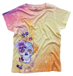 Flower Skull, lady's sublimated t-shirt from the Badassery