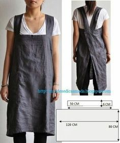 Work apron, another great idea from Moldes Moda por Medida. via moldes dicas moda Sewing Hacks, Sewing Tutorials, Sewing Crafts, Sewing Projects, Sewing Tips, Sewing Lessons, Sewing Ideas, Diy Projects, Sewing Aprons
