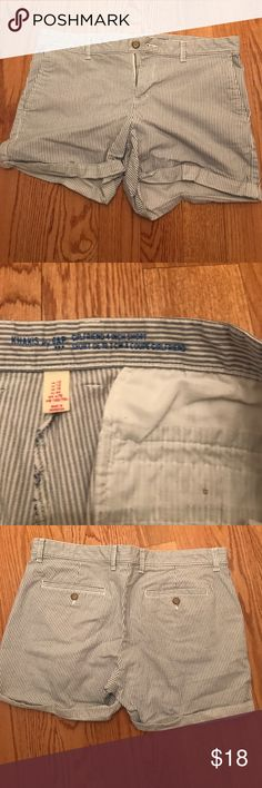 """GAP Cotton Stretch Striped Shorts GAP Cotton Stretch Striped Shorts- size 12 -EUC blue and white striped shorts- folded opening- comfy Stretch- side pockets and 2 back pockets - inseam is 4"""" GAP Shorts"""