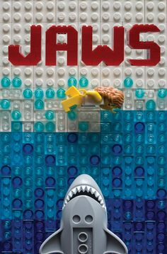 The Jaws poster in Lego