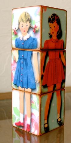 Retro Paper Doll Puzzle Three Wood Books Blocks by ChickenDoodles, $15.00