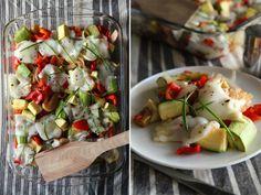 Продукты: 4 кабачка (у меня молодые, маленькие) 4 сладких перца (2 красных и 2 зеленых, чтобы веселее смотрелось) 3 помидора 1 большая луковица 2-3 дольки чеснока 150 гр.…