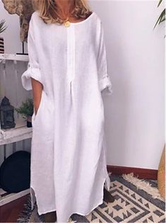 Mode Abaya, Plain Dress, Mode Boho, Boho Stil, Long Shirt Dress, Push Up Bikini, Plus Size Dresses, Types Of Sleeves, Fashion Dresses
