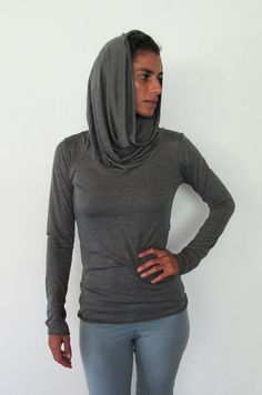 Longsleeve top with cowel neck that doubles as a hood by Kayayogawear, $49.75
