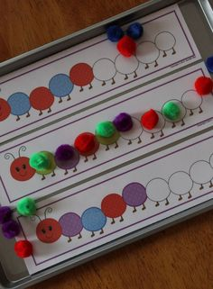 """Caterpillar Pattern Boards - Preschool math or busy bag activity and great addition to a unit on Eric Carle's """"The Very Hungry Caterpillar""""."""