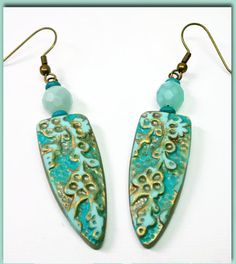 Polymer Clay Mint Patina Earrings handmade jewelry by BeadazzleMe, $16.00