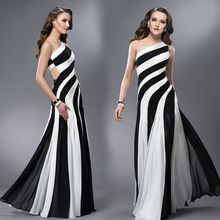 Sexy Prom Dresses 2015 new arrival Long One-Shoulder a-line Black And White Formal Dress Gown long elegant Vestidos(China (Mainland))