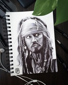 """The one and only Jack Sparrow ballpoint pen portrait. I was really inspired to draw it so here it is. #art #sketch #sketch_book #sketchbook…"""" Jack Sparrow, Ballpoint Pen, One And Only, Sketch, Portraits, Inspired, Drawings, Book, Artist"""
