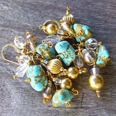 Earring bohemian turquoise & gold