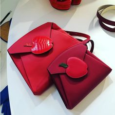 Hermes Red Shoulder Bags with Apple Appliques - Spring 2016