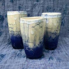 Shibori-inspired indigo ceramic tumbler, wheelthrown tall pottery cup with cobalt ombre, hexagon tile, honeycomb pattern