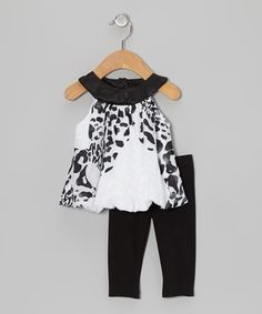 Love this Black & White Cheetah Bubble Tunic & Leggings - Infant by Rare Editions on #zulily! #zulilyfinds