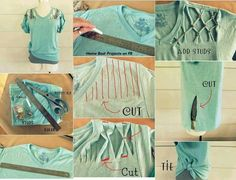 Tee shirt cutting with studs