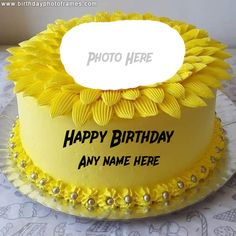 Happy Birthday Cake with Name and Photo Free Edit Happy Birthday Wishes Song, Birthday Wishes With Photo, Happy Birthday Wishes Cake, Beautiful Birthday Wishes, Happy Birthday Cake Images, Happy Birthday Beautiful, Birthday Wishes For Myself, Birthday Greetings, Birthday Photos