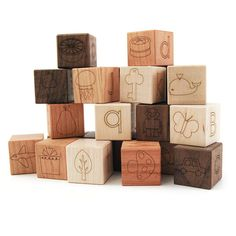 Little Sapling Toys modern alphabet picture blocks make up an incredibly versatile toy. The clean lines, fresh appeal and natural tones will