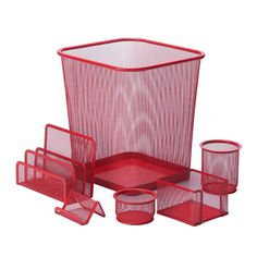 Honey-Can-Do Mesh Desk Set in Red. Keep your desk neat and orderly with this desk organization kit from Honey-Can-Do. Complete with a pencil holder, letter holder, name card holder, Name Card Holder, Letter Holder, Desk Organizer Set, Desk Organization, Organizers, Desk Storage, L Shaped Executive Desk, Red Desk, Office Items