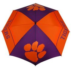 NCAA Clemson Tigers 62-Inch WindSheer Hybrid Umbrella by Team Effort. $39.90. 190T nylon cover and sheath in vivid collegiate team colors. 4 eye-catching collegiate trademarks printed over multiple panels. Push button auto-open. Patented Wind-Release System allows wind to escape between upper and lower canopies preventing inversion during storms and high winds. Rustproof FRP double rib frame with patented U-shaped joint hinge. Two-color 100% rubber handle with dual-d...