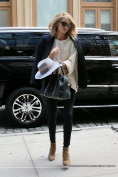 Rosie Huntington-Whiteley.. Isabel Marant Elmy Top, Isabel Marant Lahore Blazer, Maison Michel Hat, Saint Laurent Booties, and Givenchy Lucrezia Bag..
