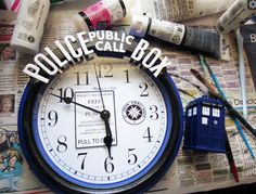 DIY Doctor Who TARDIS clock - Made with a $5 clock from Wal-Mart!