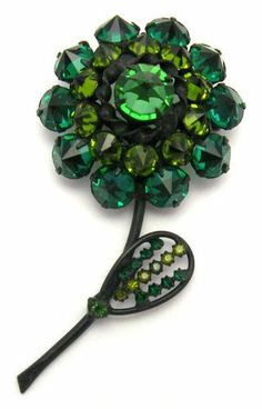 Vintage Schreiner Figural Flower Brooch Pin Inverted Rhinestones Book Piece | eBay