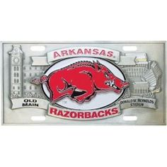 """Checkout our #LicensedGear products FREE SHIPPING + 10% OFF Coupon Code """"Official"""" Arkansas Razorbacks Collector's License Plate - Officially licensed College product Exceptional 3D details Perfect for wall mounting Base of the plate is over 1/8 inch thick with raised details Arkansas Razorbacks sculpted emblem - Price: $54.00. Buy now at https://officiallylicensedgear.com/arkansas-razorbacks-collector-s-license-plate-cvp12"""