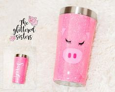 Glittered Pig Stainless Steel Tumbler, Pig Tumbler Mug Cup Personalized Pig Tumbler with included st Diy Tumblers, Personalized Tumblers, Custom Tumblers, Glitter Tumblers, Extra Fine Glitter, Cute Cups, Glitter Cups, This Little Piggy, Cup Design